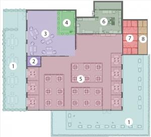 L'image représente l'agencement d'un restaurant avec un schéma fonctionnel des espaces du restaurant, réalisé avec un logiciel BIM de conception architecturale Edificius.