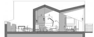 Aménager des combles - l'image représente une coupe des combles habitées avec sa terrasse tropéziennes, son salon et la chambre à coucher, réaliser avec le logiciel de conception architecturale BIM Edificius.