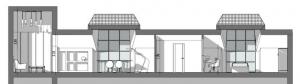 Aménager des combles - l'image représente une coupe de l'espace intérieur, divisé par la zone nuit, le séjour et les deux grandes lucarnes, réaliser avec le logiciel de conception architecturale BIM Edificius.