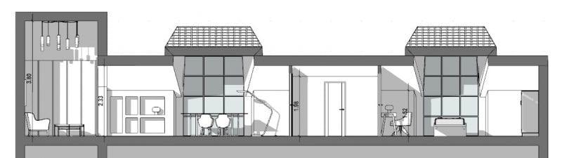 l'image représente une coupe de l'espace intérieur, divisé par la zone nuit, le séjour et les deux grandes lucarnes, réaliser avec le logiciel de conception architecturale BIM Edificius.