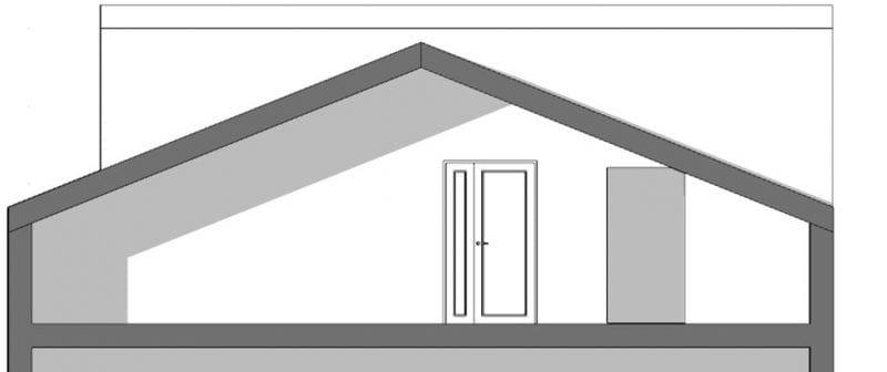 Aménager des combles - l'image représente une coupe du toit de la maison avec des combles inhabité, réaliser avec le logiciel de conception architecturale BIM Edificius.