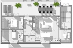 Aménager des combles - l'image représente une vue en plan de, l'espace extérieure et de l'espace intérieure, l'espace extérieur est une terrasse avec une table et des chaise, l'intérieur est divisé par la zone nuit, le séjour, la salle de bain et l'entrée depuis les escaliers, réaliser avec le logiciel de conception architecturale BIM Edificius.
