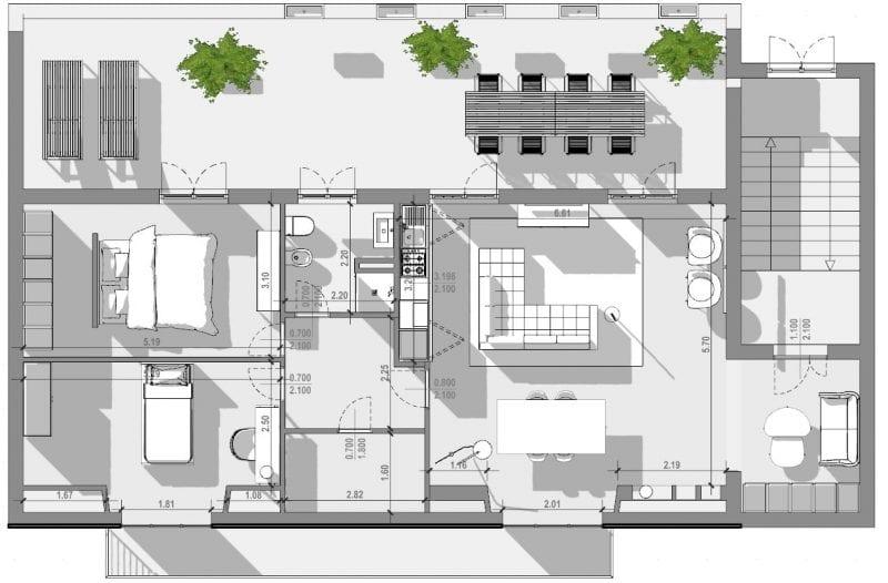 l'image représente une vue en plan de, l'espace extérieure et de l'espace intérieure, l'espace extérieur est une terrasse avec une table et des chaise, l'intérieur est divisé par la zone nuit, le séjour, la salle de bain et l'entrée depuis les escaliers, réaliser avec le logiciel de conception architecturale BIM Edificius.