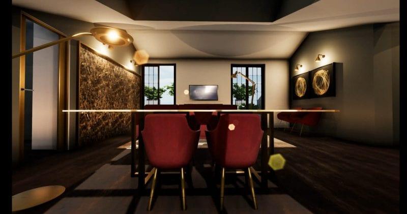 Aménager des combles - l'image représente un rendu de l'espace l'intérieur des combles avec une table et des chaises et deux fenêtres, réaliser avec le logiciel de conception architecturale BIM Edificius.