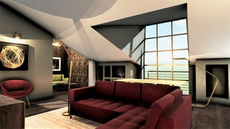 Aménager des combles - l'image représente un rendu de l'espace l'intérieur des combles avec un canapé rouge une baie vitrée pour la lumière naturelle et dans la partie base des combles des meubles sur mesures, réaliser avec le logiciel de conception architecturale BIM Edificius.