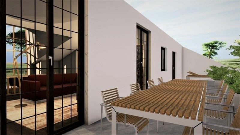 Aménager des combles - l'image représente un rendu de l'espace l'extérieur de la terrasse tropézienne avec une table et des chaises, réaliser avec le logiciel de conception architecturale BIM Edificius.