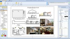 Aménager des combles - l'image représente les plans d'exécution du projet avec coupes élévation planimétrie et rendu, réalisé avec le logiciel de conception architecturale BIM Edificius.