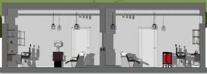 L'image représente une vue en coupe des espaces d'intérieur de la conception d'agencement de salon de coiffure, la zone de coiffure et la zone shampoing, réalisé avec le logiciel Edificius de conception architecturale 3D BIM.