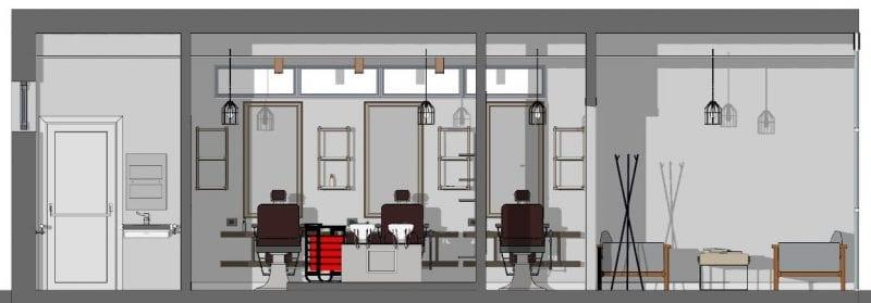 L'image représente une vue en coupe des espaces d'intérieur de la conception d'agencement de salon de coiffure, le vestibule séparant l'espace des WC avec l'espace de coiffure et de shampoing et la salle d'attente, réalisé avec le logiciel Edificius de conception architecturale 3D BIM.