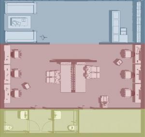 L'image représente un schéma de la division des espaces de travail de la conception d'agencement de salon de coiffure, la salle d'attente avec ses canapés, l'espace de coiffure et les WC, réalisé avec le logiciel Edificius de conception architecturale 3D BIM.