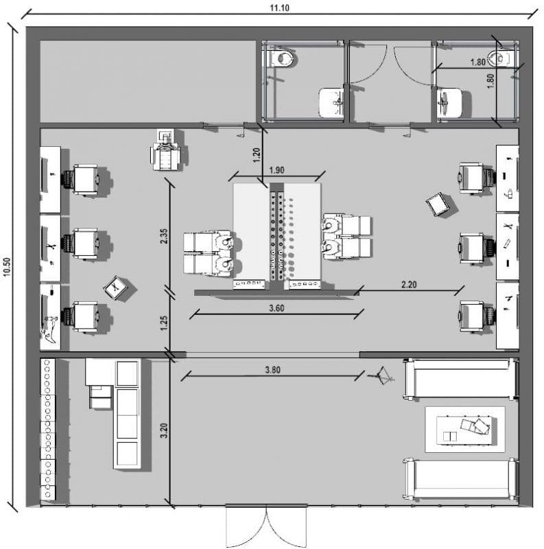 L'image représente un plan des espaces d'intérieur de la conception d'agencement de salon de coiffure, la salle d'attente avec ses canapés l'espace de travail avec ses bacs lave tête, ses 3 chaises de coiffeur en face de chaque miroir et les WC, réalisé avec le logiciel Edificius de conception architecturale 3D BIM.