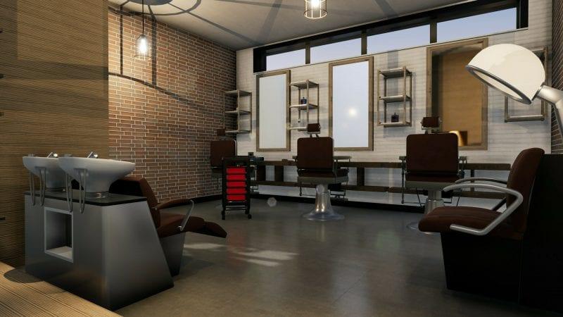 L'image représente un rendu des espaces d'intérieur de la conception d'agencement de salon de coiffure, l'espace de travail avec ses bacs lave tête, ses 3 fauteuils de coiffeur en face de chaque miroir, réalisé avec le logiciel Edificius de conception architecturale 3D BIM.
