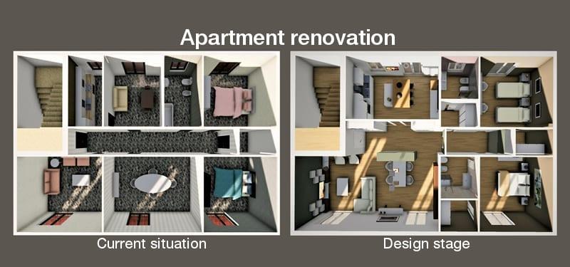 Devis rénovation, l'image représente un rendu d'une vue aérienne en plan d'un long couloir avec 3 portes d'un côté et de l'autre et une au fond du couloir, la vue montre tous les espace cuisine, chambre à coucher le revêtement de sol est un marbre luisant de couleur foncé, ce rendu est réalisé avec Edificius le logiciel de conception architecturale 3D BIM