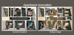 L'image représente un rendu d'une vue aérienne en plan d'un long couloir avec 3 portes d'un côté et de l'autre et une au fond du couloir, la vue montre tous les espace cuisine, chambre à coucher le revêtement de sol est un marbre luisant de couleur foncé, ce rendu est réalisé avec Edificius le logiciel de conception architecturale 3D BIM