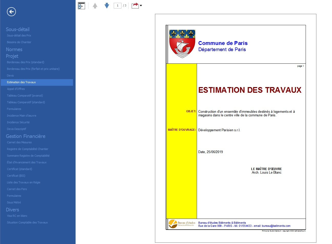 Impression de la page de garde d' Estimation des travaux issue de PriMus