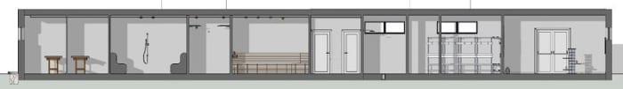 L'image représente une vue en coupe des espaces d'intérieur salle de massage, sauna, vestiaire, entrée et réception d'une construction d'un spa, réalisé avec le logiciel Edificius de conception architecturale 3D BIM