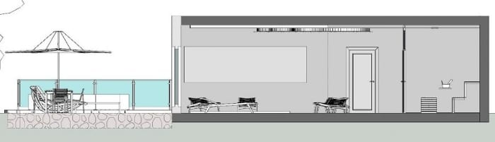 L'image représente une vue en coupe de la terrasse, la piscine et la sauna d'une construction d'un spa, réalisé avec le logiciel Edificius de conception architecturale 3D BIM