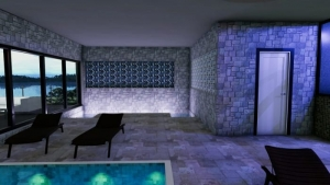 L'image représente un rendu de l'intérieur d'une construction d'un centre spa avec la piscine et une baie filtrée pour accueillir la lumière naturelle et du carrelage en mosaïque, réalisé avec le logiciel Edificius de conception architecturale 3D BIM