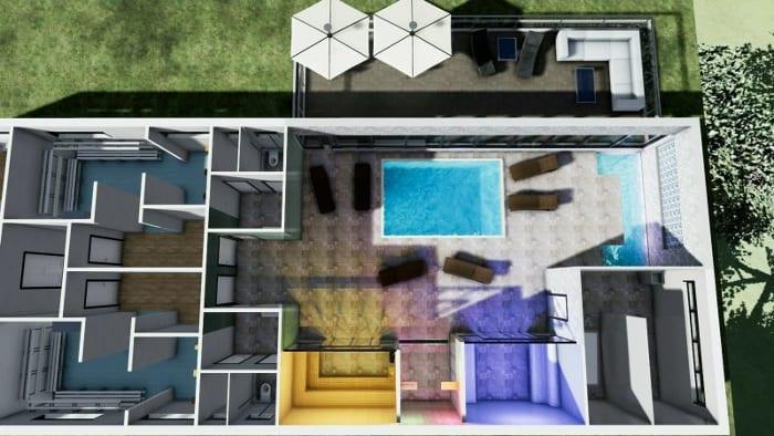 L'image représente une coupe axonométrique d'une construction d'un centre spa avec des couleurs différente pour chaque espace, réalisé avec le logiciel Edificius de conception architecturale 3D BIM