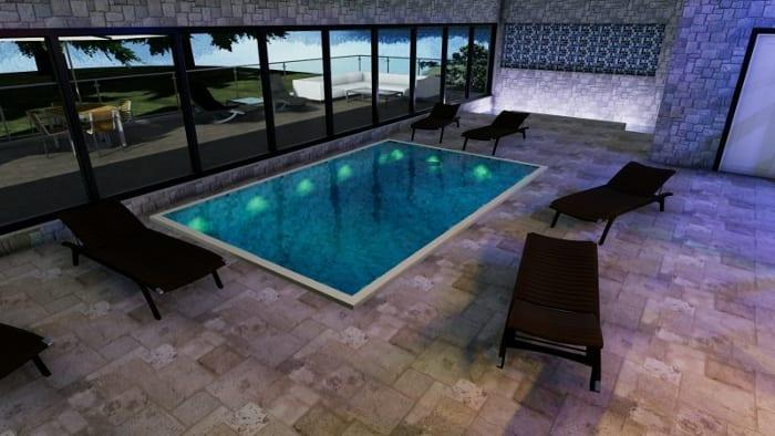 L'image représente une vue perspective d'un rendu de l'intérieure d'une construction d'un centre spa avec la piscine et une baie vitrée pour accueillir la lumière naturelle et du carrelage comme revêtements de sol, réalisé avec le logiciel Edificius de conception architecturale 3D BIM