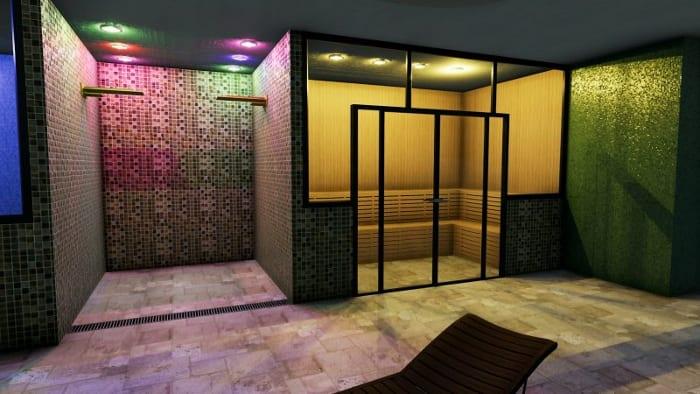 L'image représente un rendu de l'intérieure d'une construction d'un centre spa avec la douche et la sauna le tout dans une ambiance feutrée et du carrelage en mosaïque, réalisé avec le logiciel Edificius de conception architecturale 3D BIM