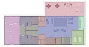 L'image représente un schéma de construction d'un centre spa avec des couleurs différente pour chaque espace, réalisé avec le logiciel Edificius de conception architecturale 3D BIM