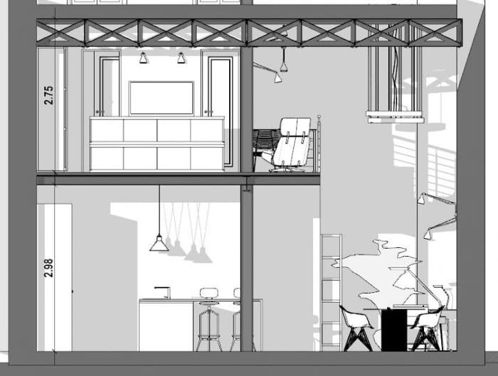 Plan loft - l'image représente al coupe d'un loft avec sa cuisine, table à manger, mezzanine avec une douche, WC et ses tuyaux apparent, réalisé avec Edificius le logiciel de conception architecturale