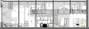 Plan loft - l'image représente le plan d'un loft du loft avec ses espaces cuisine, salon salle de détente, mezzanine et ses tuyaux apparent, réalisé avec Edificius le logiciel de conception architecturale