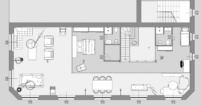 Projet loft plan mezzanine - réalisé avec Edificius
