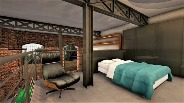Plan loft - l'image représente une vue en plan de la mezzanine d'un loft avec sa chambre à coucher les escaliers, les douches, WC et son espace de vies avec le billard, salon et table à manger, réalisé avec Edificius le logiciel de conception architecturale