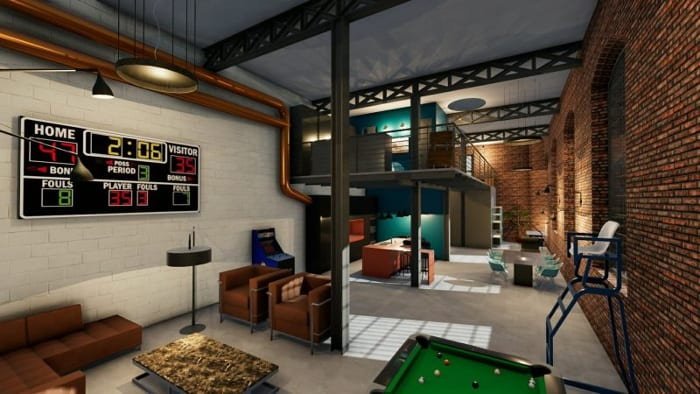 Plan loft - l'image représente une perspective d'un loft avec son mur en brique rouge et ses hauts plafonds et ses espaces de vies avec un billard et un tableau des scores, réalisé avec Edificius le logiciel de conception architecturale