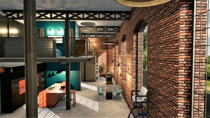 Plan loft - l'image représente une perspective d'un loft avec son mur en brique rouge et ses hauts plafonds qui permette la construction de mezzanine et ses grandes fenêtres, réalisé avec Edificius le logiciel de conception architecturale