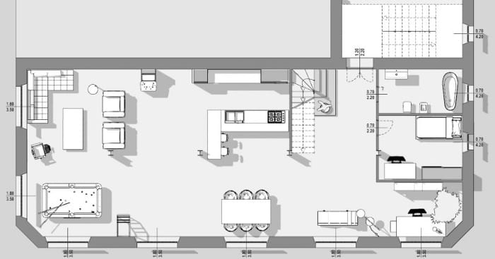 Plan loft - l'image représente une vue en plan d'un loft ses espaces de vie, cuisine, salon, salle de détente, mezzanine, réalisé avec Edificius le logiciel de conception architecturale