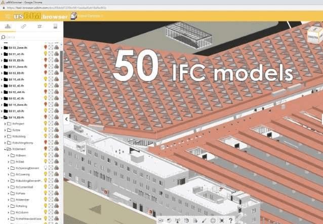L'image représente une perspective de la modélisation 3D BIM de la gare de Naples depuis un navigateur quelconque google, internet explorer, etc., réaliser avec Edificius le logiciel de conception architecturale