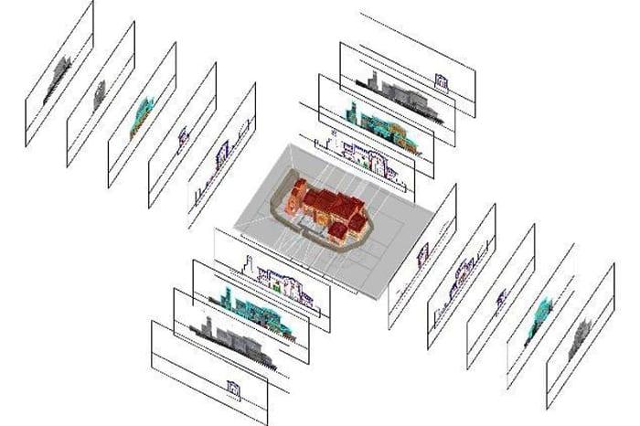 hbim - l'image représente un modèle BIM avec un schéma des différents niveaux de détails - usBIM.platform, la plateforme collaborative BIM