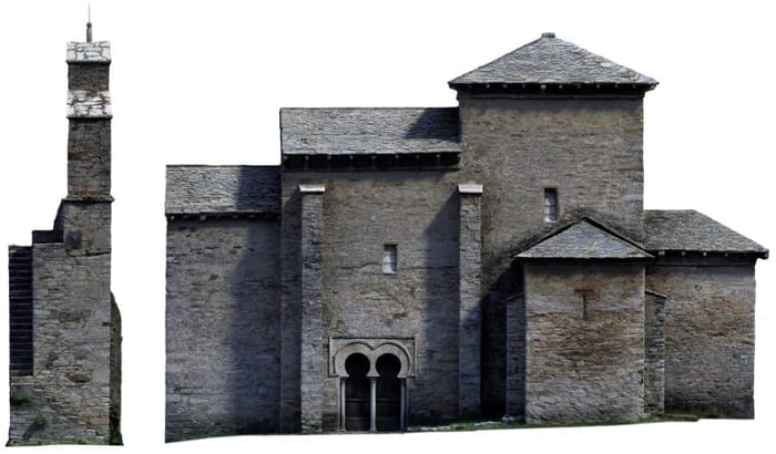 hbim - l'image représente la photogrammétrie de la façade de l'église - usBIM.platform, la plateforme collaborative BIM