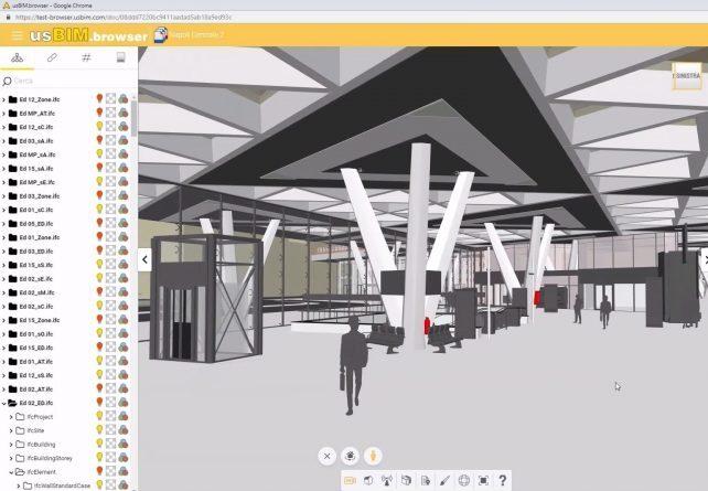 L'image représente la vue de la maquette 3D BIM de la gare de Naples depuis un casque de réalité virtuelle, réalisé avec Edificius le logiciel de conception architecturale
