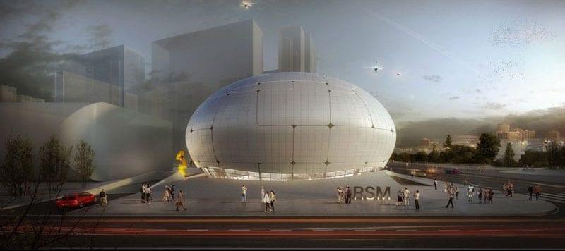 Limage représentent une vue d'un rendu extérieure du musée réaliser par des robots constructeurs, musée de science robotique à Séoul