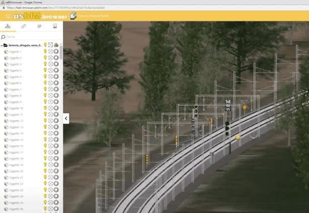 L'image représente un tronçon de la voie ferroviaire de Naples - Rome de la maquette 3D BIM depuis la réalité virtuelle immersive depuis un casque de réalité virtuelle et de pouvoir vérifier toutes les incohérences du projet, réalisé avec Edificius le logiciel de conception architecturale