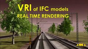 L'image représente un rendu de la modélisation 3D BIM du tronçon de Naples – Rome avec ses voies ferrées et ses sa signalisation ferroviaire, réaliser avec Edificius le logiciel de conception architecturale
