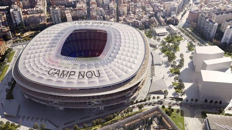 L'image représente un rendu de la rénovation du stade FC Barcelone du Camp Nou