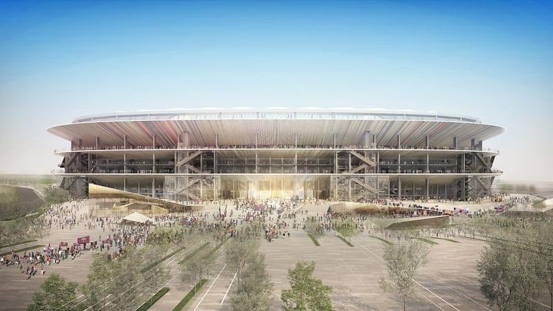 L'image représente un rendu de la rénovation du stade FC Barcelone du Camp Nou avec sont espace devant le stade et on voit les étages en forme d'anneaux qui tournent autour du stade.
