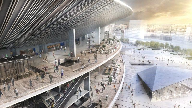 L'image représente un rendu de la rénovation du stade FC Barcelone du Camp Nou on voit les étages en forme d'anneaux qui tournent autour du stade qui forme des terrasse panoramique et des lieux de restaurations sur chaque étage organiser pour le moment de mi-temps.
