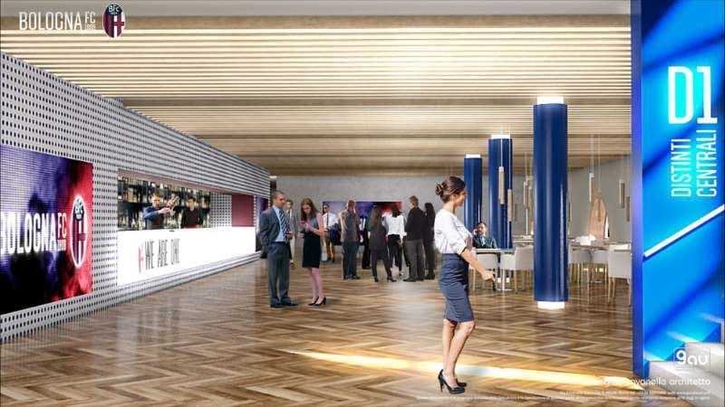 L'intérieur du stade de Renato Dall'Ara totalement transformé avec de nouvelles zones de restauration
