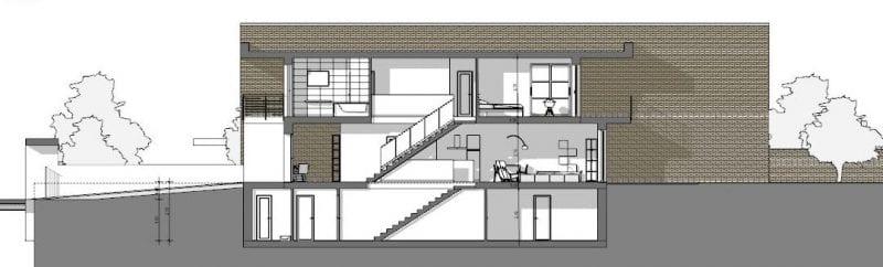 L'image représente une coupe transversale A-A des plan de maison mitoyenne, produit par Edificius logiciel de conception architecturale BIM.