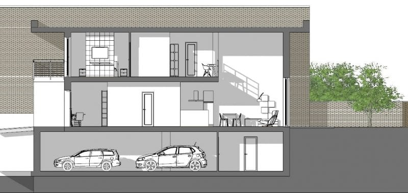 L'image représente une coupe transversale C-C des maisons mitoyennes avec un séjour à double hauteur, produit par Edificius logiciel de conception architecturale BIM