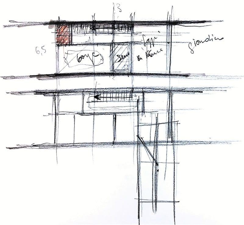 L'image représente une esquisse de l'étude principale des maisons mitoyennes et de la coupe, produit par Edificius logiciel de conception architecturale BIM