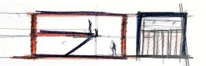 L'image représente une esquisse de l'étude principale des maisons mitoyennes et de la coupe avec le séjour à double hauteur, produit par Edificius logiciel de conception architecturale BIM