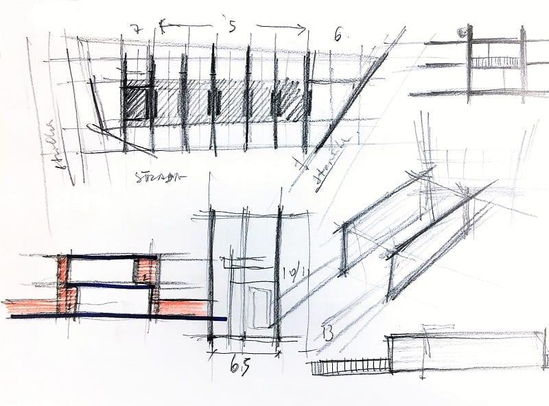 L'image représente une esquisse du lot des coupes , des plans de maison mitoyennes, produit par Edificius logiciel de conception architecturale BIM