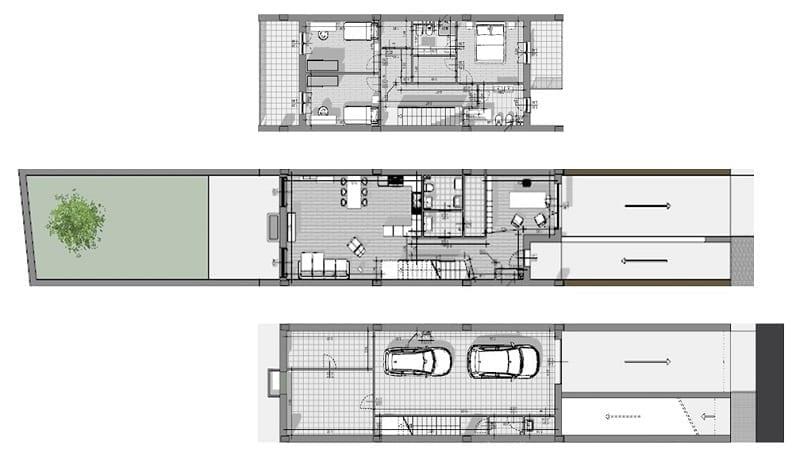 L'image représente une maison mitoyenne type : plan des trois niveaux ; garage-espace de vie - zone nuit, produit par Edificius logiciel de conception architecturale BIM.